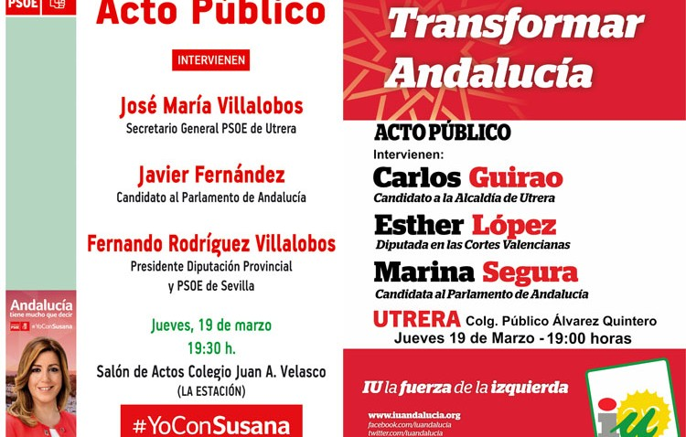 PSOE e IU organizan sendos mítines hoy en Utrera