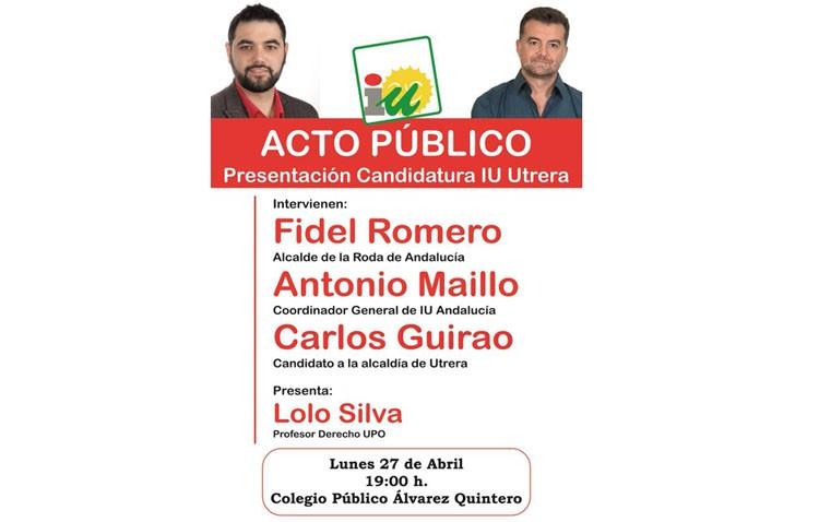 Antonio Maíllo acude a la presentación de la candidatura de IU a la alcaldía de Utrera