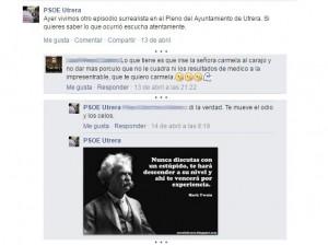 Algunos de los comentarios publicados en el Facebook del PSOE de Utrera