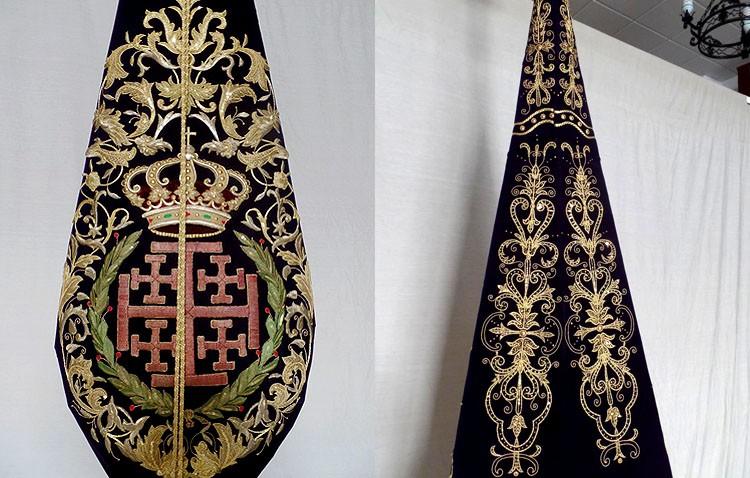 Culmina la restauración del estandarte de la hermandad de Jesús Nazareno tras una compleja restauración