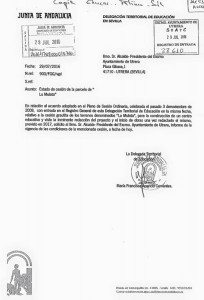 Documento remitido por la Junta al Ayuntamiento