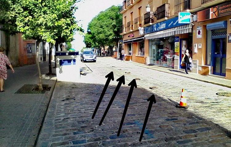 El PA critica la «chapuza» en la reordenación provisional de la calle Álvarez Hazañas con conos