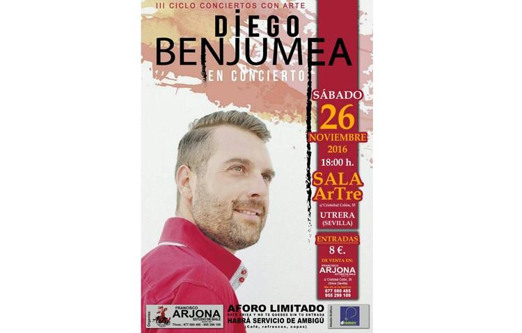 El cantante Diego Benjumea, protagonista de un «Concierto con Artre»