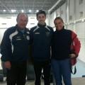 Mario Silva junto a Laura Real su entrenadora y Juan José Alfaro presidente del club .