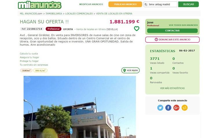 Las salas de cine de Los Molinos, a la venta en «milanuncios.com» por 1,8 millones de euros