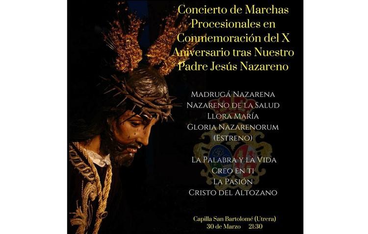 La banda de la Vera-Cruz conmemora con un concierto el décimo aniversario de su acompañamiento a Jesús Nazareno
