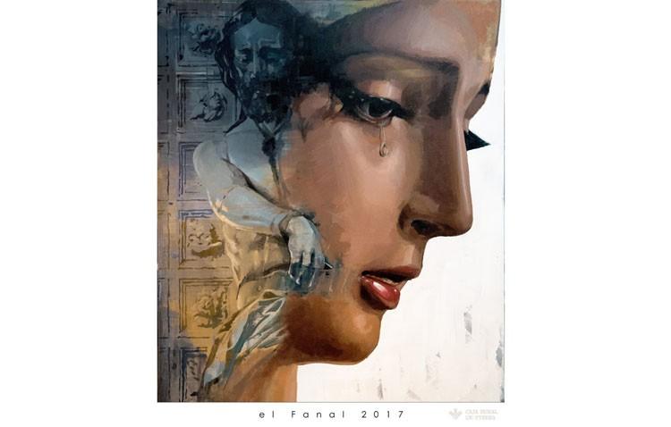 Una pintura con los titulares de los Aceituneros ilustra el cartel de la tertulia cofrade «El fanal»