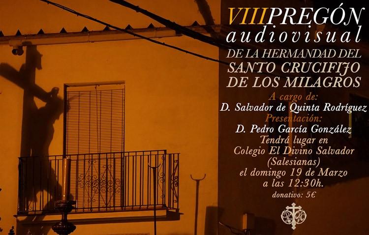 Salvador de Quinta realizará el pregón audiovisual de la Semana Santa que organiza la hermandad de los Milagros
