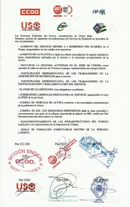 Documento firmado por los sindicatos