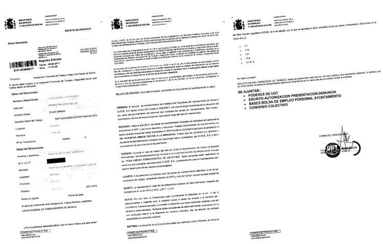 UGT denuncia en la Inspección de Trabajo las «graves irregularidades» del Ayuntamiento en la contratación de trabajadores