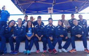 Grupo de atletismo en grada