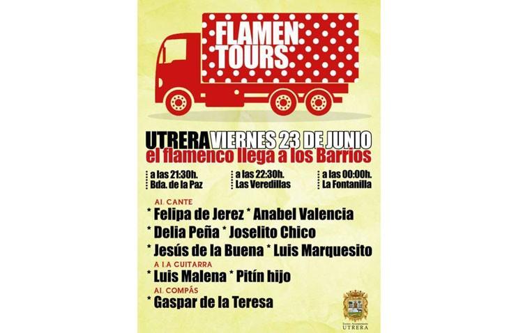 Un camión con actuaciones flamencas hace parada en las barriadas La Paz, Las Veredillas y La Fontanilla