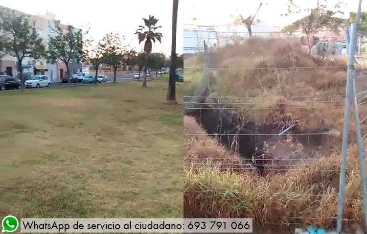 Césped seco y una zanja abierta desde hace más de un año, quejas de la barriada La Mulata al gobierno local (VÍDEO)