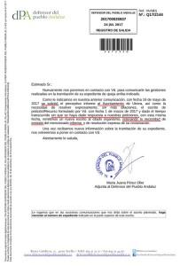 Escrito del Defensor del Pueblo en el que explica la falta de información del gobierno de Utrera