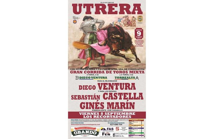Diego Ventura, Sebastián Castella y Ginés Marín, protagonistas de la corrida de toros mixta en Utrera