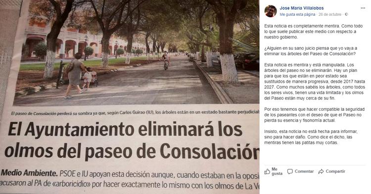 Villalobos (PSOE) contradice a su socio Guirao (IU) sobre la tala de los olmos del paseo de Consolación