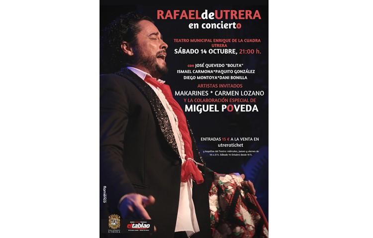 Rafael de Utrera llega al teatro de Utrera junto a Miguel Poveda