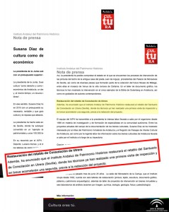 El compromiso de la presidenta de la Junta fue recogido incluso en una nota de prensa oficial dle IAPH