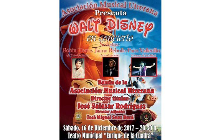 Concierto de Walt Disney en el teatro, con la Asociación Musical Utrerana
