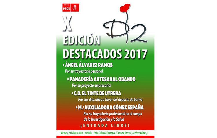 El PSOE entregará sus premios «Destacados» a Ángel Álvarez, Panadería Obando, el CD El Tinte y Mª Auxiliadora Gómez
