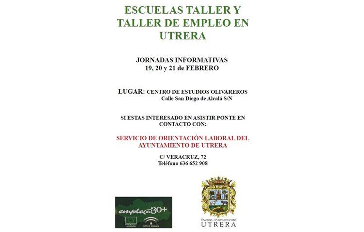 Tres sesiones informativas hablarán sobre las escuelas-taller y el taller de empleo que se pondrán en marcha en Utrera