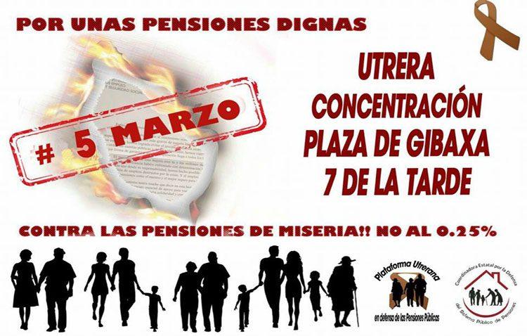 Una nueva manifestación este lunes en Utrera para exigir «unas pensiones dignas»