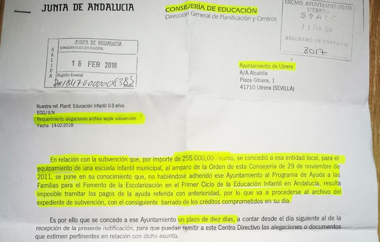 El gobierno de Utrera «deja perder» una subvención de 255.000 euros para equipar la nueva guardería de Campoverde