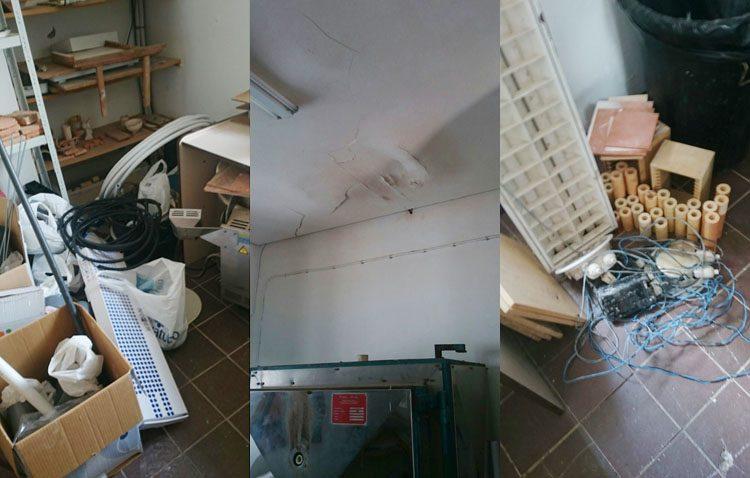 El aula de cerámica de la Casa de la Cultura, tres meses de olvido absoluto «convertida en un almacén y con el horno estropeado»