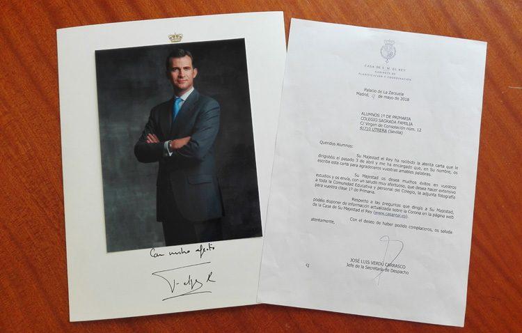 La carta del Rey Felipe a los alumnos del colegio Sagrada Familia