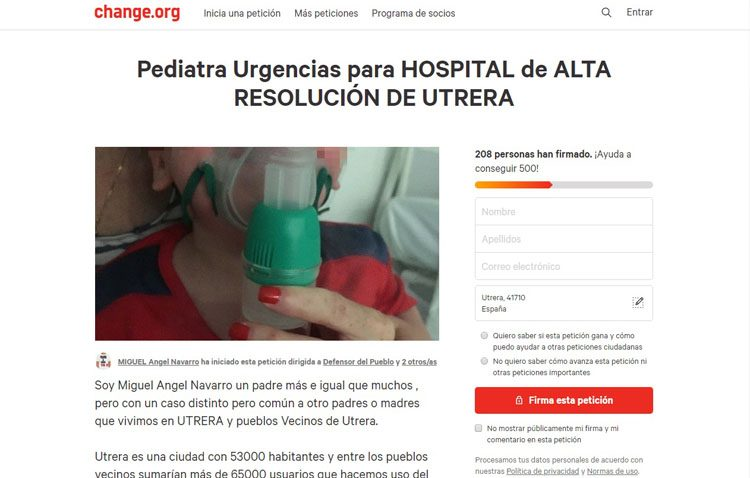 Firmas por Internet para pedir un pediatra de guardia para Utrera