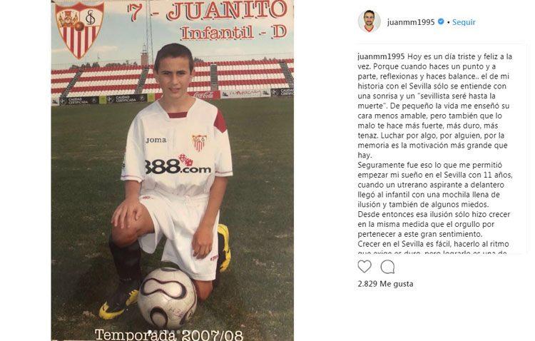 El utrerano Juan Muñoz se desvincula del Sevilla FC