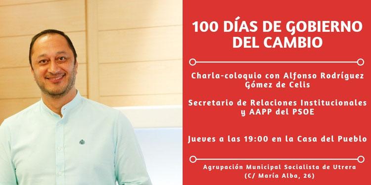 Gómez de Celis visita la sede del PSOE de Utrera para hacer balance de los primeros 100 días del gobierno de Sánchez