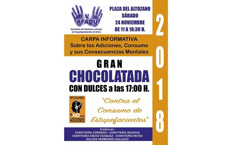 Chocolatada y dulces en la jornada de información sobre las adicciones organizada por Afadu