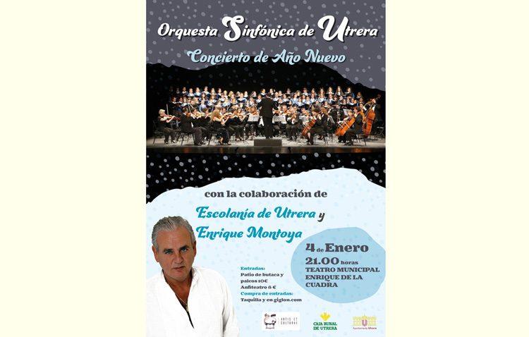 La Orquesta Sinfónica de Utrera, Enrique Montoya y la Escolanía de Utrera, en un concierto de año nuevo en el teatro
