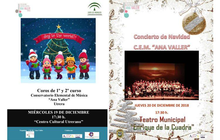 Dos conciertos navideños organizados por el conservatorio de Utrera