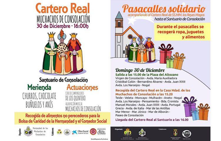 Los Muchachos de Consolación organizan un pasacalles solidario y la visita del cartero real