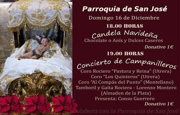 Una candela navideña y un concierto de campanilleros en la parroquia de San José