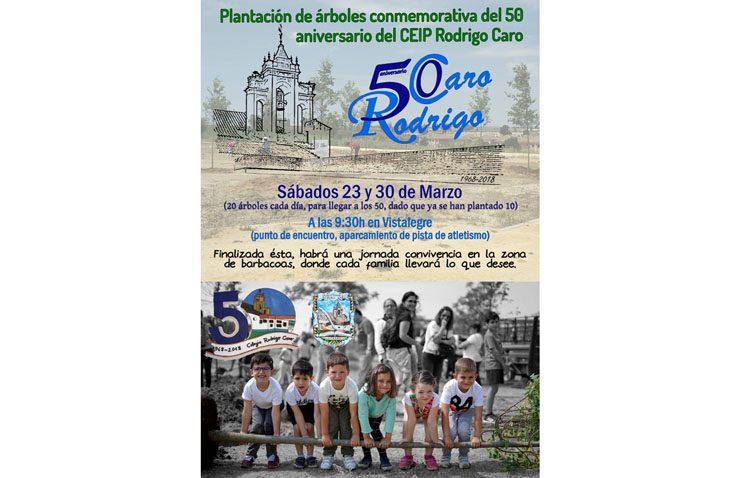 El colegio Rodrigo Caro organiza dos plantaciones de árboles por su cincuentenario fundacional