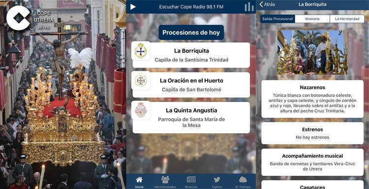 La app gratuita «Semana Santa COPE Utrera», disponible para Android y iPhone con numerosa información y datos en exclusiva