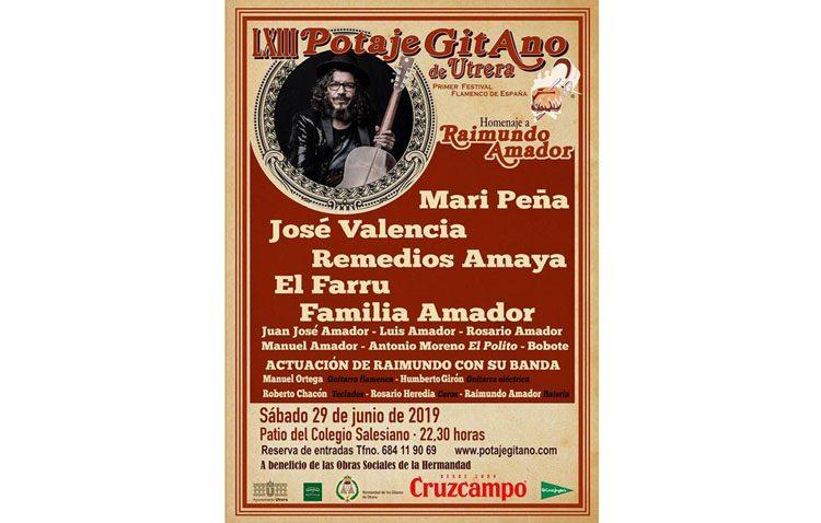 Mari Peña, José Valencia, Remedios Amaya y El Farru, en el cartel del Potaje Gitano de Utrera