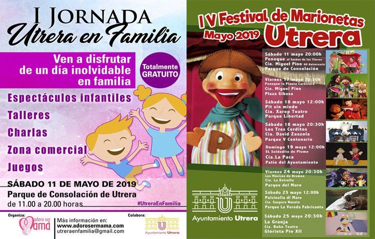 Un sábado de marionetas y de feria comercial sobre maternidad y mundo infantil en Utrera