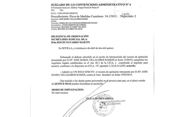 Villalobos reitera su rechazo a instalar los campos de césped y recurre el auto judicial que da vía libre al proyecto
