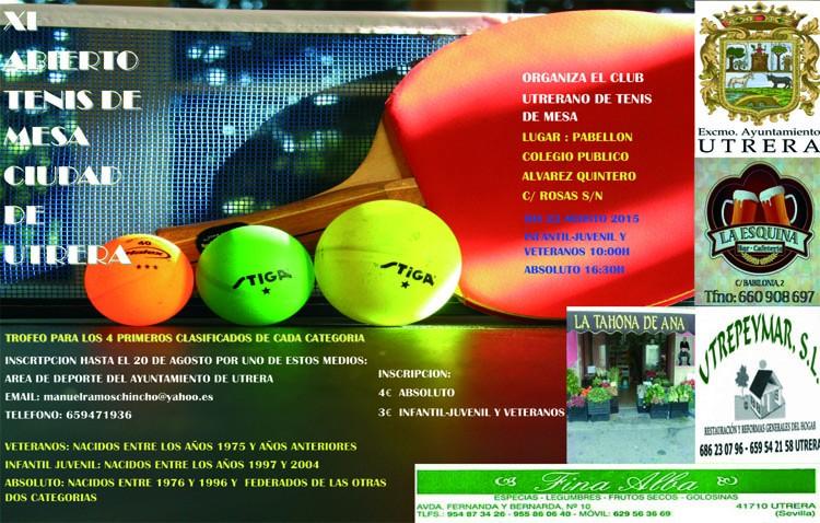 Convocado el XI abierto de tenis de mesa «Ciudad de Utrera»