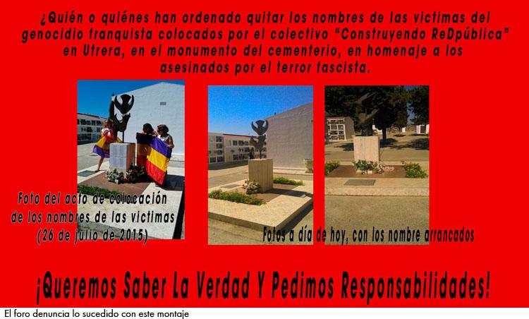 Denuncian la desaparición de los nombres en el monumento a las víctimas de la represión franquista en Utrera
