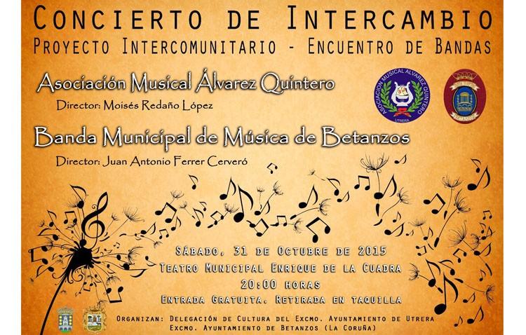 La banda «Álvarez Quintero» protagoniza un concierto en el teatro con una banda de música gallega