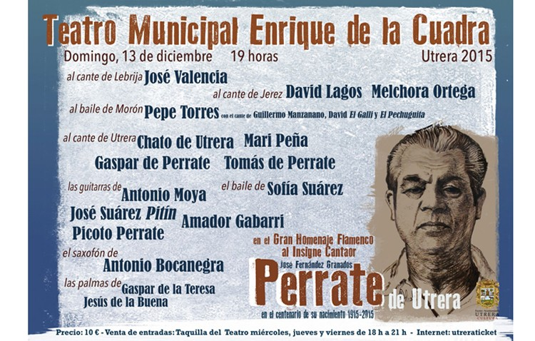 Un espectáculo flamenco rendirá homenaje a Perrate de Utrera en el centenario de su nacimiento