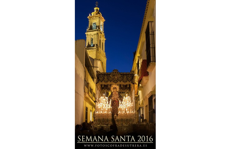 La Virgen de los Dolores en la calle Sor Marciala de la Cruz, protagonista del cartel de «FotosCofradesUtrera»