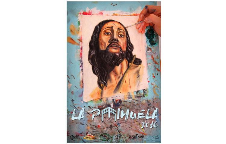 Una fotografía a un cuadro recién pintado, anuncio de la Semana Santa en la tertulia «La Parihuela»