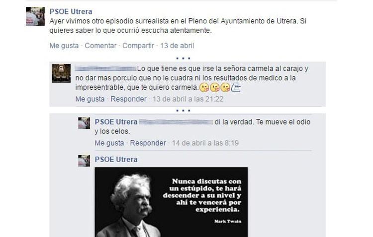 El PA denuncia «los insultos y el trato vejatorio» que reciben su portavoz y otros ciudadanos en el Facebook del PSOE