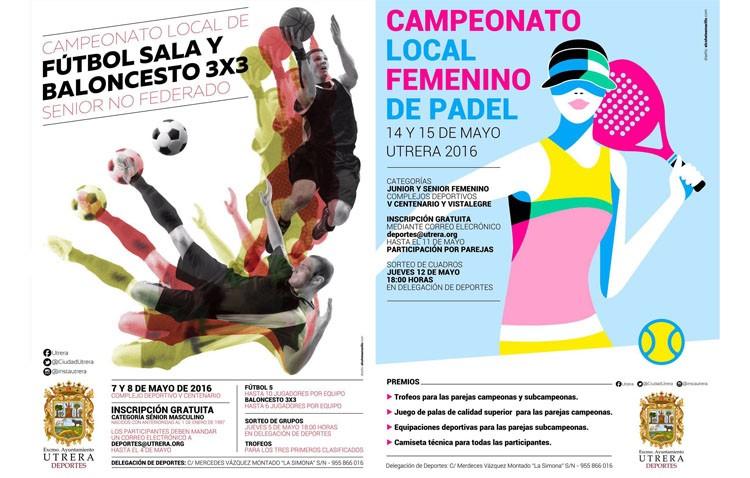Campeonatos de fútbol sala, baloncesto 3×3 y pádel durante este mes en Utrera